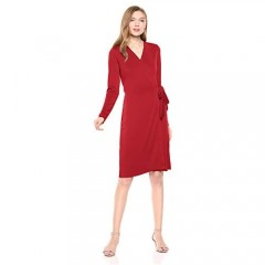 Brand - Lark & Ro Women's Signature Compact Matte Jersey Long Sleeve Wrap Dress