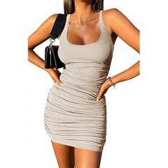 Inorin Womens Scoop Neck Sleeveless Tank Dress Summer Ruched Ribbed Sexy Club Mini Bodycon Dresses