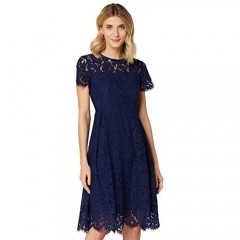 Brand - Truth & Fable Women's Short Sleeve Midi Lace A-Line Dress