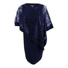 R&M Richards Women's Plus Size Short Laced Poncho Dress Large