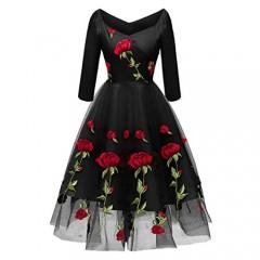 Women Vintage Off Shoulder Rose Embroidered Floral Evening Dress V Neck Short 3/4 Sleeves Wedding Cocktail A Line Midi Gown