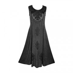 Agan Traders Gothic Vintage Sleeveless Embroidered Casual Chic Twirl Sun Dress Gown 1004 D