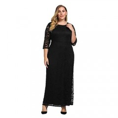 Chicwe Women's Plus Size Stretch Lace Maxi Dress - Evening Wedding Cocktail Party Dress