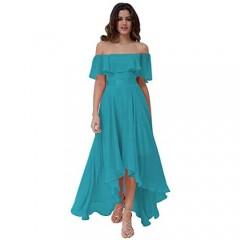 Clothfun Off Shoulder Bridesmaid Dresses High Low Simple Chiffon Formal Dresses for Women Maxi Party Dress P081