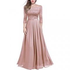 Miusol Women's Vintage Off Shoulder Floral Lace Chiffon Formal Maxi Dress