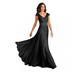Women's V-Neck A-Line Lace Chiffon Mother of The Bride Dress Long Evening Gown with Pokcets