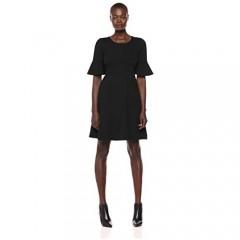 Brand - Lark & Ro Women's Ruffle Sleeve Fit and Flare Dress
