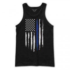 The Fighting Forces American Police Blue Line Flag Military Army Mens Tank Top