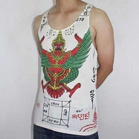Work Muay Thai Tattoo Sak Yant Rahu Garuda Yantra Men White Tank Top WK-T09 Size X-Large