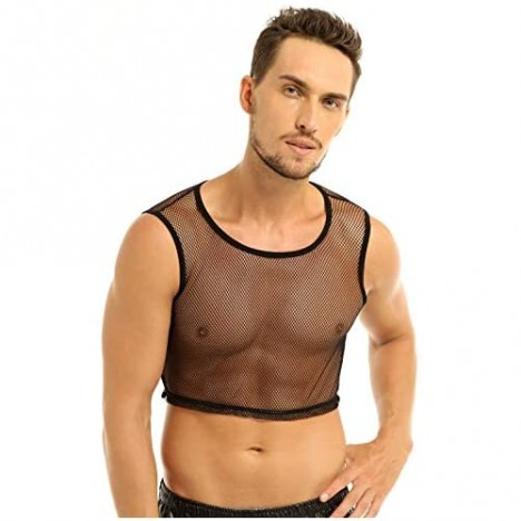 Yanarno Men's Sleeveless Mesh T Shirt Transparent Solid Casual Crop Tops Breathable T-Shirts