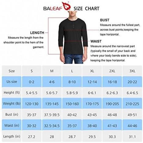 BALEAF Men's Athletic 3/4 Short Sleeve Henley Baseball T-Shirts Slim Fit Lightweight Soft Yoga Casual Top
