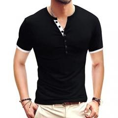 NeedBo Mens Short Sleeve Henley Shirt Slim Fit Basic Cotton T-Shirts