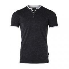 ZIMEGO Men's Casual Short Sleeve Layer V-Neck Fashion Slim Button Henley Shirt