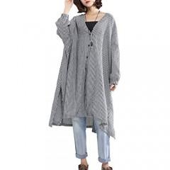 ellazhu Women Long Sleeve V-Neck Loose Cover Up Blouse Outwear Coat GA1505