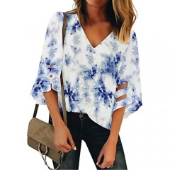 LookbookStore Women's Casual Cute Fashion Tie Dye Shirts for Women V Neck Mesh Panel 3/4 Bell Sleeve Loose Blouse Top Flowy Lounge Shirt Tie Dye Navy Size X-Large