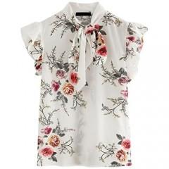 Romwe Women's Casual Short Sleeve Ruffle Trim Bow Tie Blouse Top Shirts