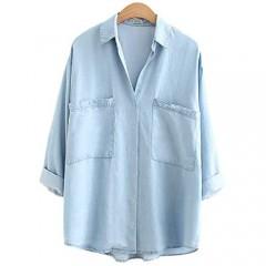 Yimoon Women's Soft Tencel Denim Shirts Baggy Collared Button Down Blouses