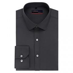 Gollnwe Big Size Long Sleeve Solid Shirt Slim Fit Stretch Bamboo Men's Dress Shirts