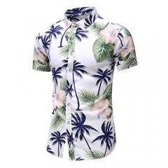 LEFTGU Men's Printed Beach Hawaiian Button-Down Slim fit Dress Shirt