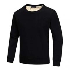 Gihuo Men's Warm Crewneck Sherpa Lined Fleece Sweatshirt Pullover Tops