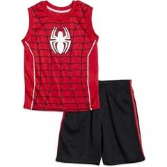 Marvel Avengers Black Panther Hulk Spiderman Boys Sleeveless Athletic Tank Top and Shorts Set