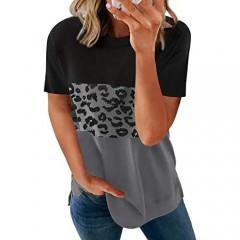 Acelitt Womens Ladies Summer Crewneck Short Sleeve Casual Loose 2021 Comfy Soft Color Block Leopard Print T-Shirts Blouses Tops Tunic Tees for Women Black L