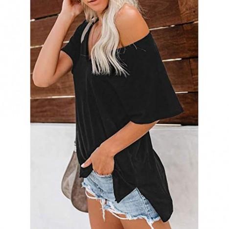 Azokoe Women Summer Short Sleeve V Neck T Shirts Basic Tee Tops with Pocket