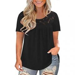 DOLNINE Womens Plus Size Shirts Short Sleeve Lace Tops Summer Pleated Tunics