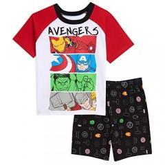 Marvel Avengers Boys Raglan T-Shirt & Shorts Set White/Red