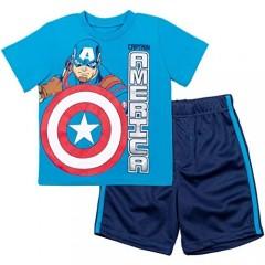 Marvel Avengers Iron Man Black Panther Captain America T-Shirt & Shorts Set