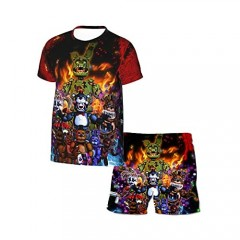 Miollibarn Five Nights at Freddy's Kids Short Sleeve T Shirt Round Neck Shirts Shorts Two-Piece Suit