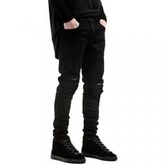 IA ROD CA Boy's Black Stretch Destroyed Ripped Distressed Fashion Skinny Slim Fit Jeans