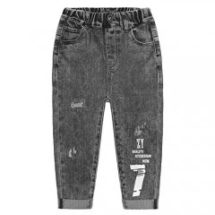 KIDSCOOL SPACE Kids Letters Printed Decor Ripped Fashion Elastic Waist Jeans
