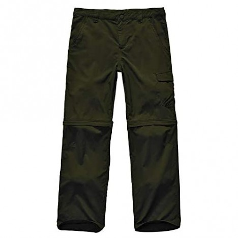 Kids Boy's Girl's Youth Outdoor Quick Dry Lightweight Cargo Pants Hiking Camping Zip Off Convertible Trousers (Boy-Army Green XS (6-7 Years))