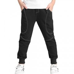 Rysly Boys Cotton Sweatpants Kids Casual Jogger Pants Tapered Ankle Pants