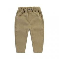 UP YO EB Little Boys Cotton Casual Pants Elastic Waist Pocket Pants