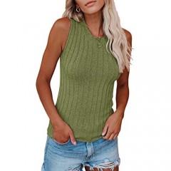 Saodimallsu Womens High Neck Tank Top Summer Ribbed Sleeveless Shirts Casual Loose Knit Cami Sweater Vest