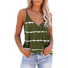 SAUKOLE Womens Sleeveless Adjustable Spaghetti Strap Shirts Blouses V Neck Printed Cute Summer Loose Casual Tank Tops