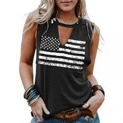 Umsuhu 4th of July Tank Tops Shirts for Women American US Flag Graphic Patriotic Tank Tops Shirts