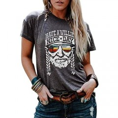 Have a Willie Nice Day T Shirt Country Music Graphic Tees for Women Summer Casual Vacation Shirts Short Sleeve Tops