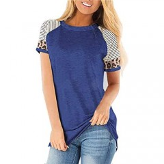 HEOXYZ Women's Short Sleeve Leopard Color Block Shirts Casual Round Neck Striped Sleeve T Shirts Blouses Tops