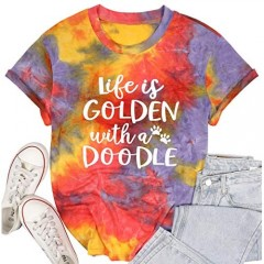 MYHALF Life is Golden with a Doodle Shirt for Women Funny Dog Mama Tees Short Sleeve Mum T-Shirt Tops