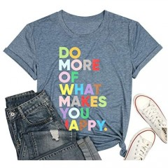 Women's Fun Happy Graphic Tees Cute Short Sleeve Letter Printed T-Shirts Top