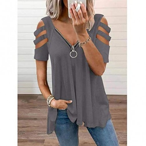 BONSHINY Cold Shoulder Plus Size Tunics Tops for Women Sexy Short Sleeve T Shirts Summer Casual Blouses with Zipper