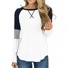 Hilltichu Womens Color Block Round Neck Tunic Tops Casual Long Sleeve Shirt Blouse