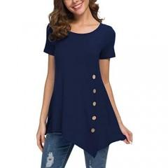 Jouica Women's Short Sleeve Casual Scoop Neck Button Side Shirt Blouse Tunic Top