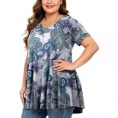MONNURO Womens Plus Size Short Sleeve V Neck Button Basic Tunic Tops Summer Swing Shirts Blouses for Leggings