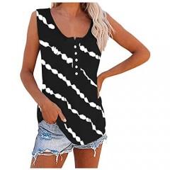 JPVDPA Women's Tie-Dye Tank Tops Sleeveless Scoop Neck Shirt Summer Casual Workout Tees Striped Slim Pullover
