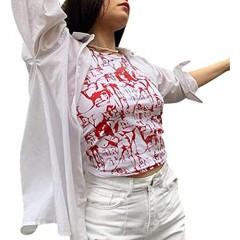 Miqil Women's Tie Dye Portrait Print Vest Y2K Crew Collar Sleeveless Slim T-Shirt Hip Hop Aesthetic Style Streetwear