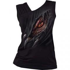 Spiral Women's Breaking Out Gathered Shoulder Slant Vest Black